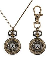 Modelo retro redondo de la flor metálica Llavero / reloj del collar (1pc)