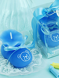Blue Baby Bootie Candle