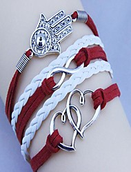 двойные сердца ладони пу ручной Unisex автора тканые браслет