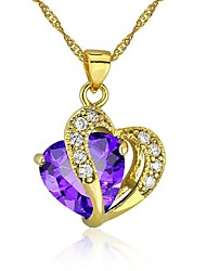 Women's Girls´ Pendant Necklaces Cubic Zirconia Gold Plated Heart Love Heart Purple Red Jewelry Wedding Party Thank You Daily Valentine