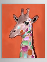 Hand Painted Oil Painting Animal Cartoon Deer with Stretched Frame