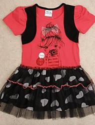 princesa vestido de vestidos de fiesta de los niños vestidos de manga corta de verano lindo impresión muchacha de la impresión al azar