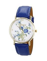 Women's Flower Pattern Golden Case PU Band Quartz Analog Wrist Watch (Blue)