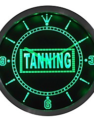 Tanning Sun Bathing Display Neon Sign LED Wall Clock