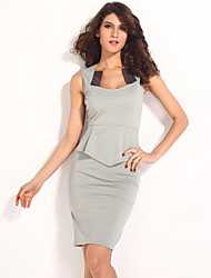 Dear-lover®Women's Fashion Celebrities Falbala Closed Pockets Hip Sexy Sleeveless Dress