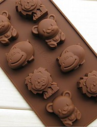8 Bear Lion Hippopotami Animal Cake Mold