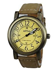 reloj del estilo de bronce del cuarzo de la venda de cuero de la mujer (colores surtidos)