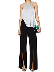 Women's Solid Black Long Pants,High Rise