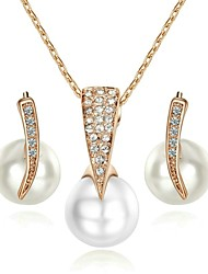 Imitation Pearl Jewelry 18K Rose/White Gold Plated Rhinestone Pendant Necklace Earrings Set