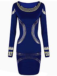 Lishang élégante Imprimer équipée OL bleu Robe tube
