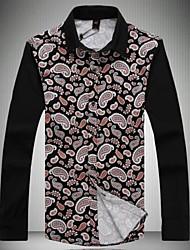 Men's Printed Lapel Leisure Long-Sleeved Shirts