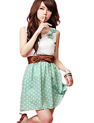 Women's Lace Bow Polka Dots Dress