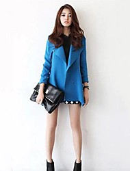 Women's Plus Size Trench Coat / Coat,Solid Long Sleeve Spring / Fall / Winter Blue / Black Cotton / Polyester / Others Medium