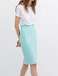 De las mujeres del color del caramelo Después de Split paquete Hip recta del busto de la falda de la cintura alta cultivan su moralidad