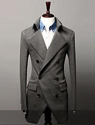 Men's Long Sleeve Regular Coat , Cotton Blend Pure