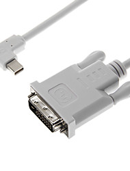 Haakse 90 graden Mini DisplayPort Male naar DVI Male White Video kabel voor MacBook (150cm)