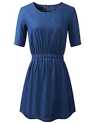 Women's Dresses , Chiffon/Cotton Blend/Denim/Polyester Bodycon Soft