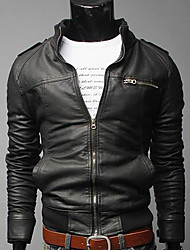 Hengyi Men's Stand Collar Zipper Leather Jacket