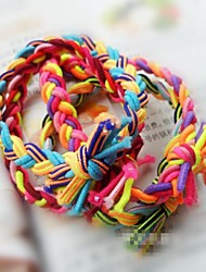 Contrast Color Hand-woven Hair Bands Elastic Wide Version Twist Braid Rope (Color Random)
