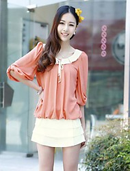Women 's Contrast Peter Pan Collar Pleated Front Cute Half Lantern Sleeves Regular Fit Chiffon Blouse