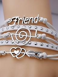 leather Charm Bracelets Alloy Friend and Music Notation Multilayer Handmade Leather Bracelet inspirational bracelets