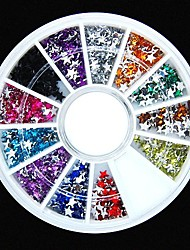 600pcs 12colours Sternform Acryl Strass Rad Nagelkunstdekoration