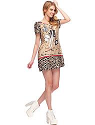 2013 Speing New Summer Style moderne ouvrages d'agrément de SouthStoreA femmes même que Fan Bingbing Cartoon Imprimer col rond robe
