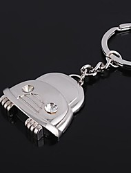 The Car Shape Metal Silver Keychain Toys