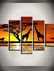 Hand Painted Oil Painting African Sunrise Giraffes Landscape Paintings with Stretched Frame Set of 5