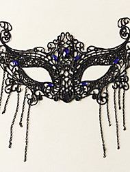 Mask Princess Fairytale Festival/Holiday Halloween Costumes Black Blue Solid Lace Mask Halloween Carnival Unisex Lace Artificial Gemstones