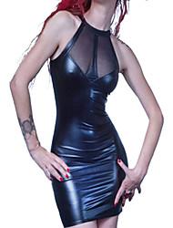 Hot Girl Negro PU sin respaldo de cuero uniforme sexy