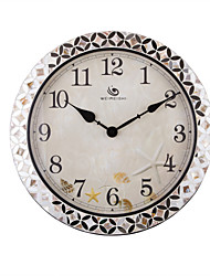 "18.4 ""H Country Style Motif floral Argent Polyrein Horloge murale"