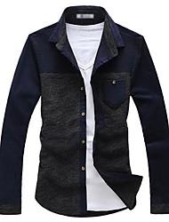 Camisa De los hombres Un Color Casual / Trabajo / Formal-Algodón / Punto-Manga Larga-Azul / Gris