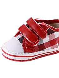 Talón plano de algodón para niños Primera Walker Fashion Sneaker con Cinta Mágica y Plaid Shoes