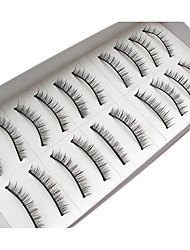 10Pairs Natural Looking Handmade Darker Lengthening  Microfiber False Eyelashes