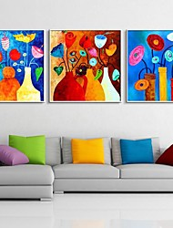 Colorful Flowers Abstract Decorative Framed Canvas Print Set of 3