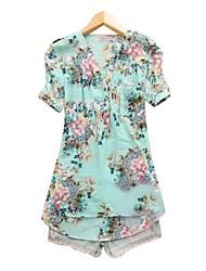 Women's v neck Flower Pattern Printed Shirt