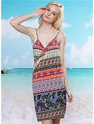 Colorful impresión profunda V Bare Back Gallus Dress Beach Sexy Elegante Femenina