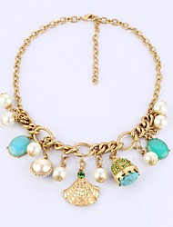 Women's Fashion Jewelry Luxury Shell Pearl Gemstone Design Bib Necklace