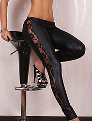 Donna Faux Leather Nero Leggings