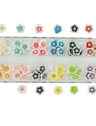60pcs 12-бриллиант цвета смолы цветов Nail Art Декорация