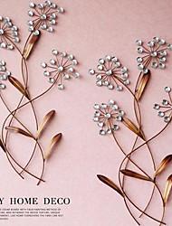 décor de mur d'art de mur en métal de la fleur de cristal de décoration murale ensemble de 2
