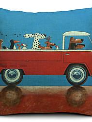 caricatura motorista cão de algodão / linho fronha decorativo