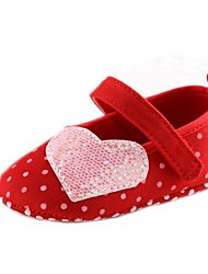 Cotton Girl's Flat Heel Round Toe and Mary Jane Flats with Polka Dot and Magic Tape Shoes