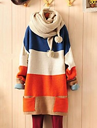 Women's Color Block Blue/Orange Loose Sweater,Casual Long Sleeve Pocket
