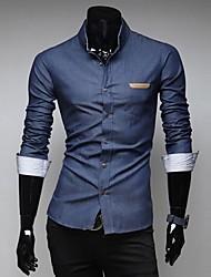 zian® camisa dos homens moda colar bolso magro design de couro cor sólida ocasional denim camisa de manga comprida o