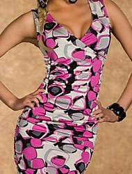 Shozilan Frauen V-Ausschnitt, ärmellos, figurbetontes Kleid