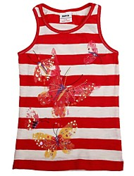 Kids Tanks Round Neck Adorable Sequin Beautiful Butterfly Print Summer Children Stripes Tank Tops Random Print