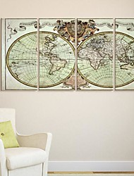 Stretched Canvas Art Old Map Set of 4