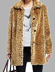 Women's Turn-down Collar Cute Button Elegant Leopard Coat